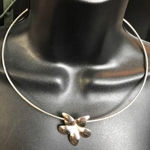 Avon Silver Flower Necklace & Earrings Set